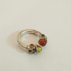 Vintage 90s Baltic Amber sterling silver ring